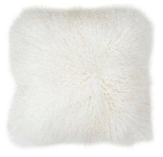 Mongolian 16x16 Lamb Pillow, White