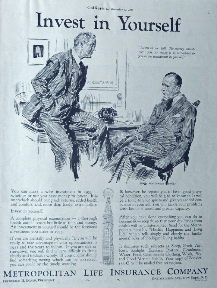 Metropolitan life insurance co 30s print ad invest in