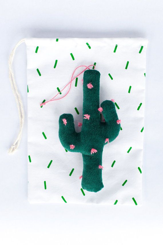 Why not hang a velvet cactus on your tree this year? #etsyfinds