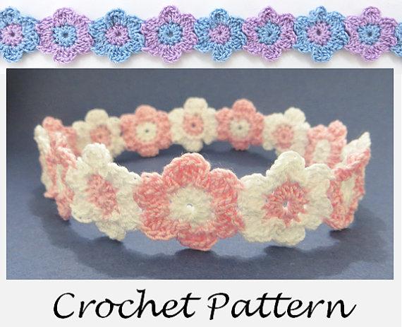 Linked Flowers Headband Crochet Pattern For Any Size Preemie