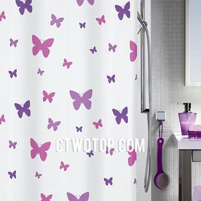 Purple Shower Curtains | Purple And White Butterfly Waterproof Cute  Beautiful Shower Curtains