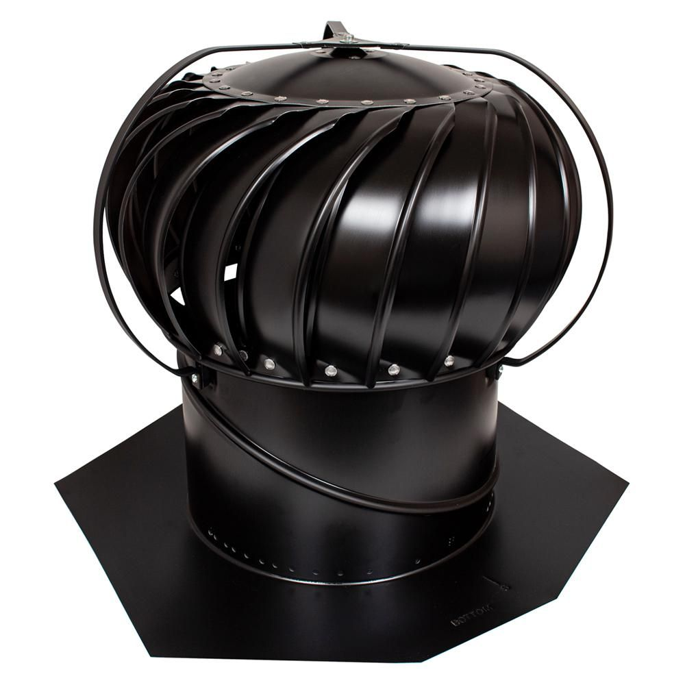 Air Vent 14 In Black Aluminum Externally Braced Wind Turbine Tob14sbl The Home Depot Wind Turbine Air Vent Turbine