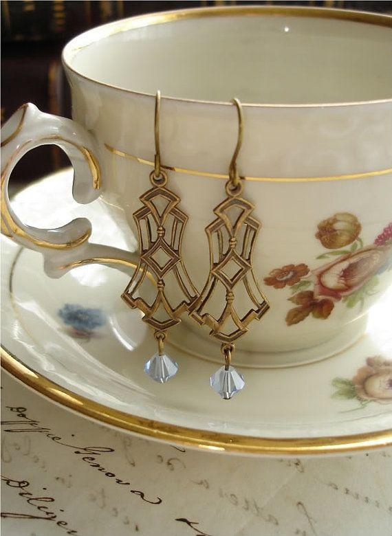 DECO DANGLERS - Antiqued Brass Chandelier Earrings. Vintage Brass Art Deco Earrings with Blue Sapphire Swarovski Crystals. Rustic Jewelry.