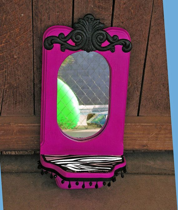 Upcycled Vintage Wall Mirror Hot Pink Zebra Print by retrosideshow, $31.99