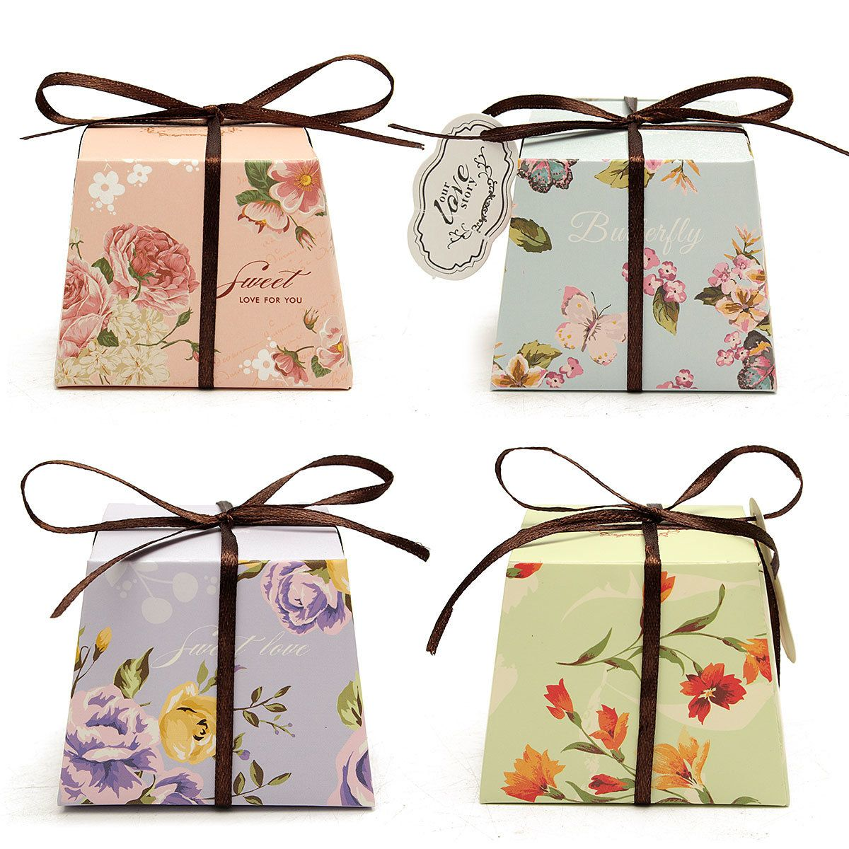 10pcs floral printed ribbon card candy box birthday gift boxes