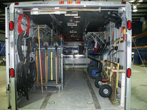 Enclosed trailer sprinkler set ups lawn for Garden maintenance van