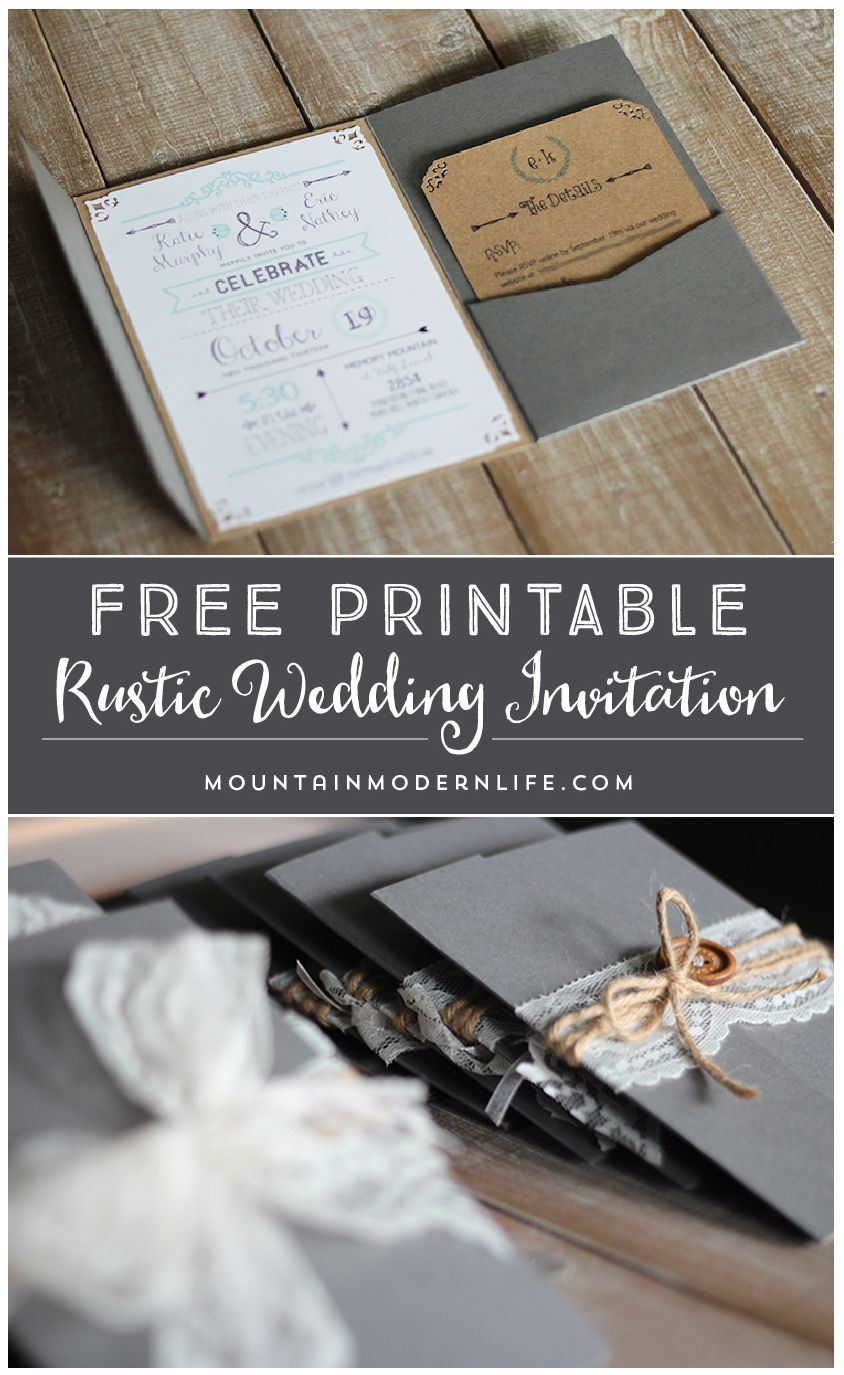 recently engaged and planning a rustic or vintage inspired wedding download this free wedding invitation template and print out as many as you need