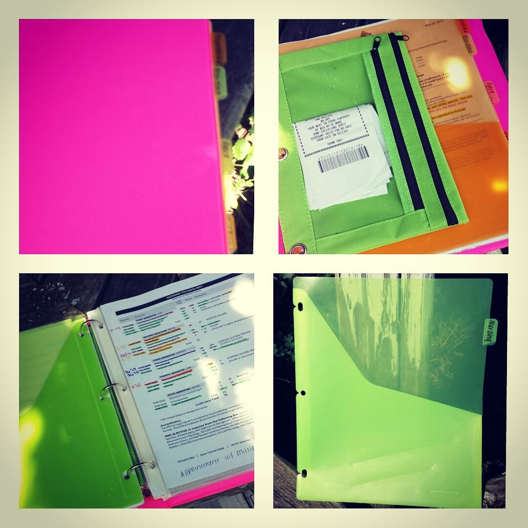 How to organize a program nursing binder. Started mine as soon as I got the acceptance letter and I am so happy I did!