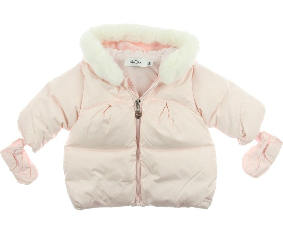 4f11a875fe0e Dior Baby Girls Pink Down Padded Coat With Detachable Fur Trim ...