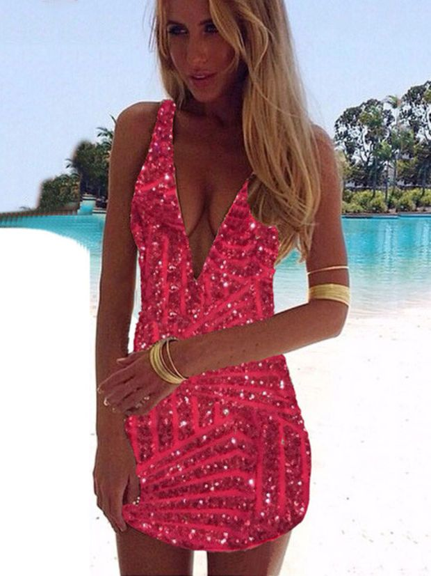 4cba0117 Rose Red V-neck Sleeveless Gold Sequined Mini Bodycon Dress ...