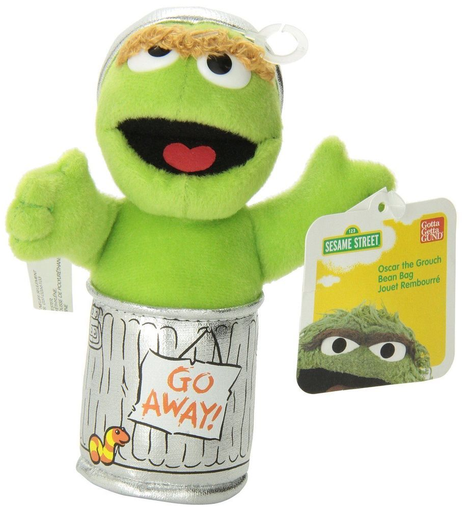 "Sesame Street Oscar The Grouch Beanbag 5"" #GUND"