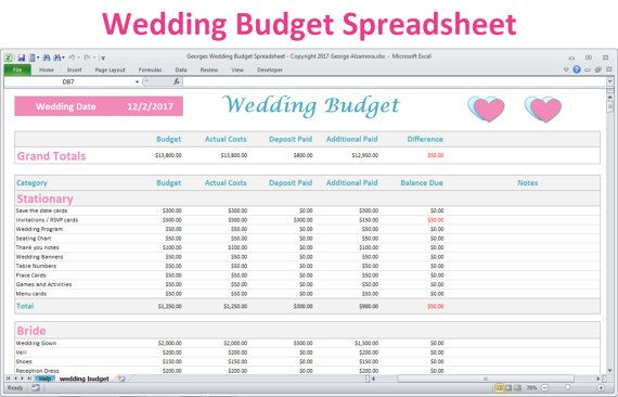 Wedding Budget Spreadsheet  Excel Wedding Budget Template