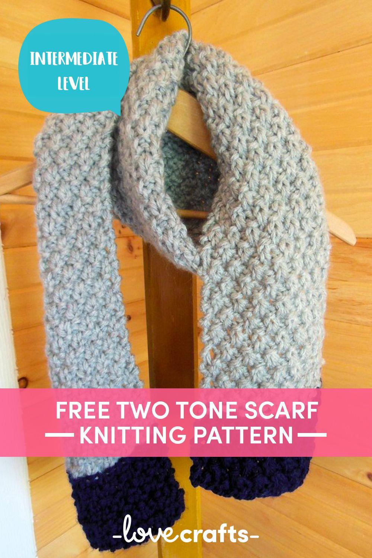 Chunky 2-Tone Scarf - Double Moss Stitch Knitting pattern ...