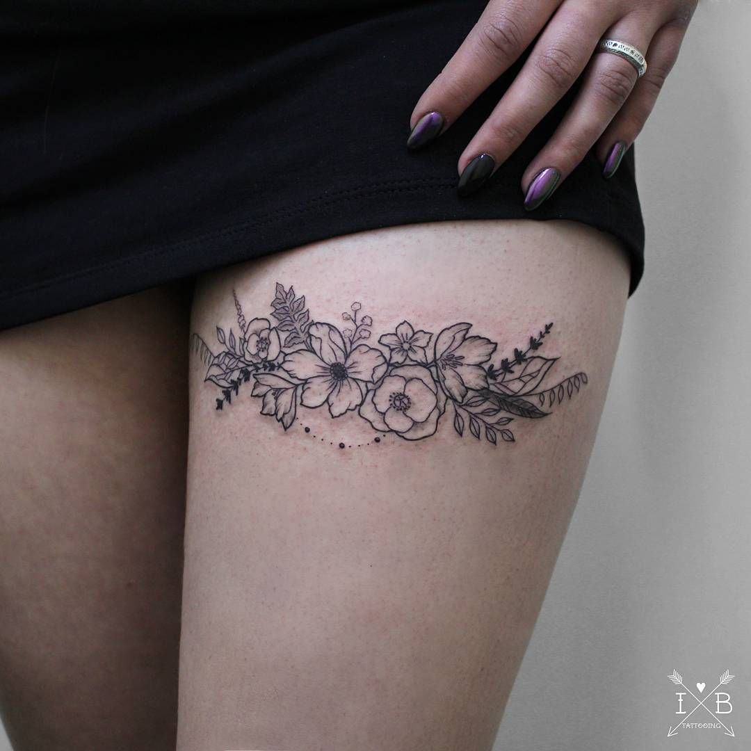 Flowers Floral Garter Tattoo By Irene Bogachuk Tattoos Tattoo