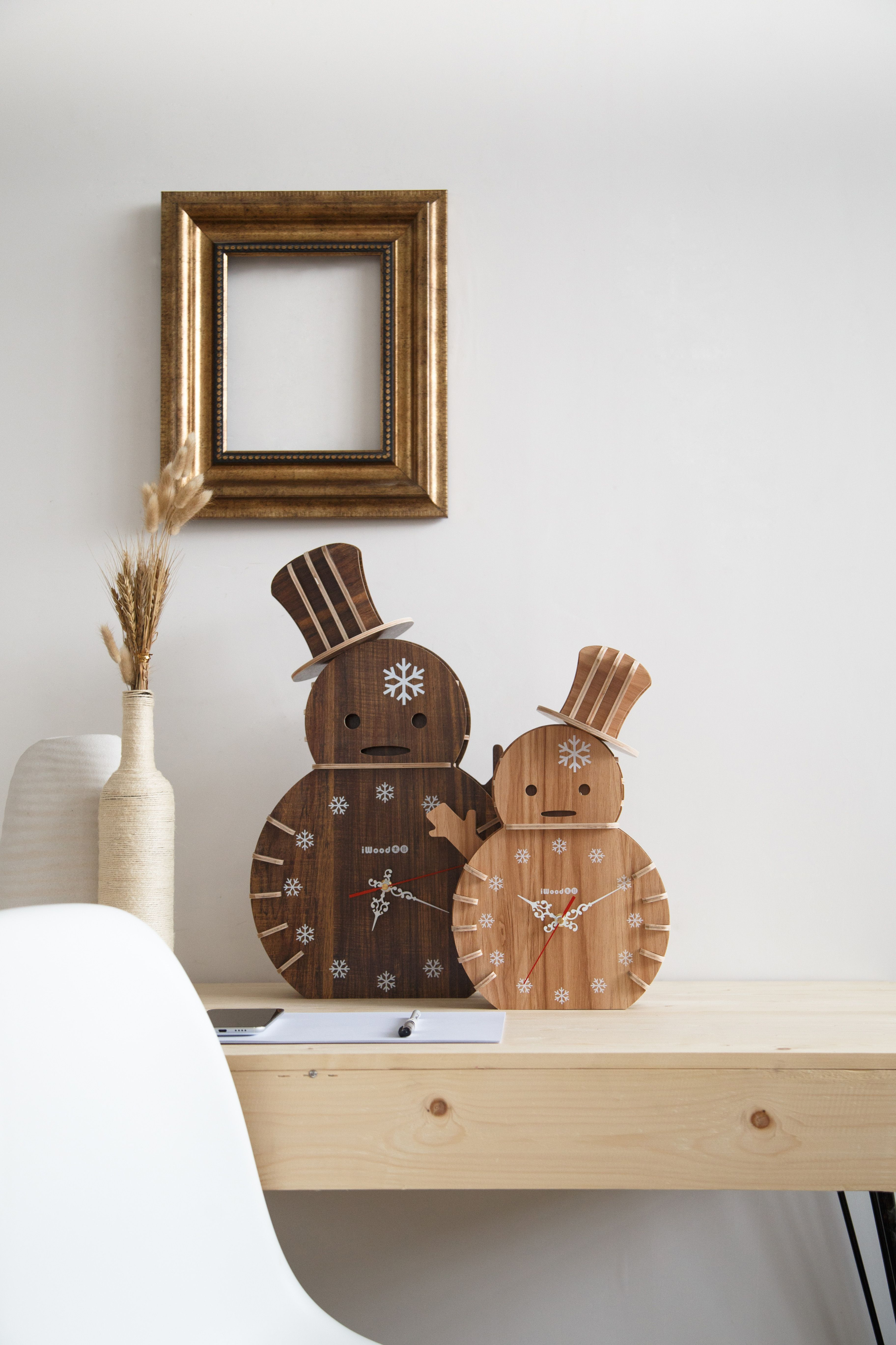 Rustic Snowman wooden clock-Plywood craft clock -Living room ...
