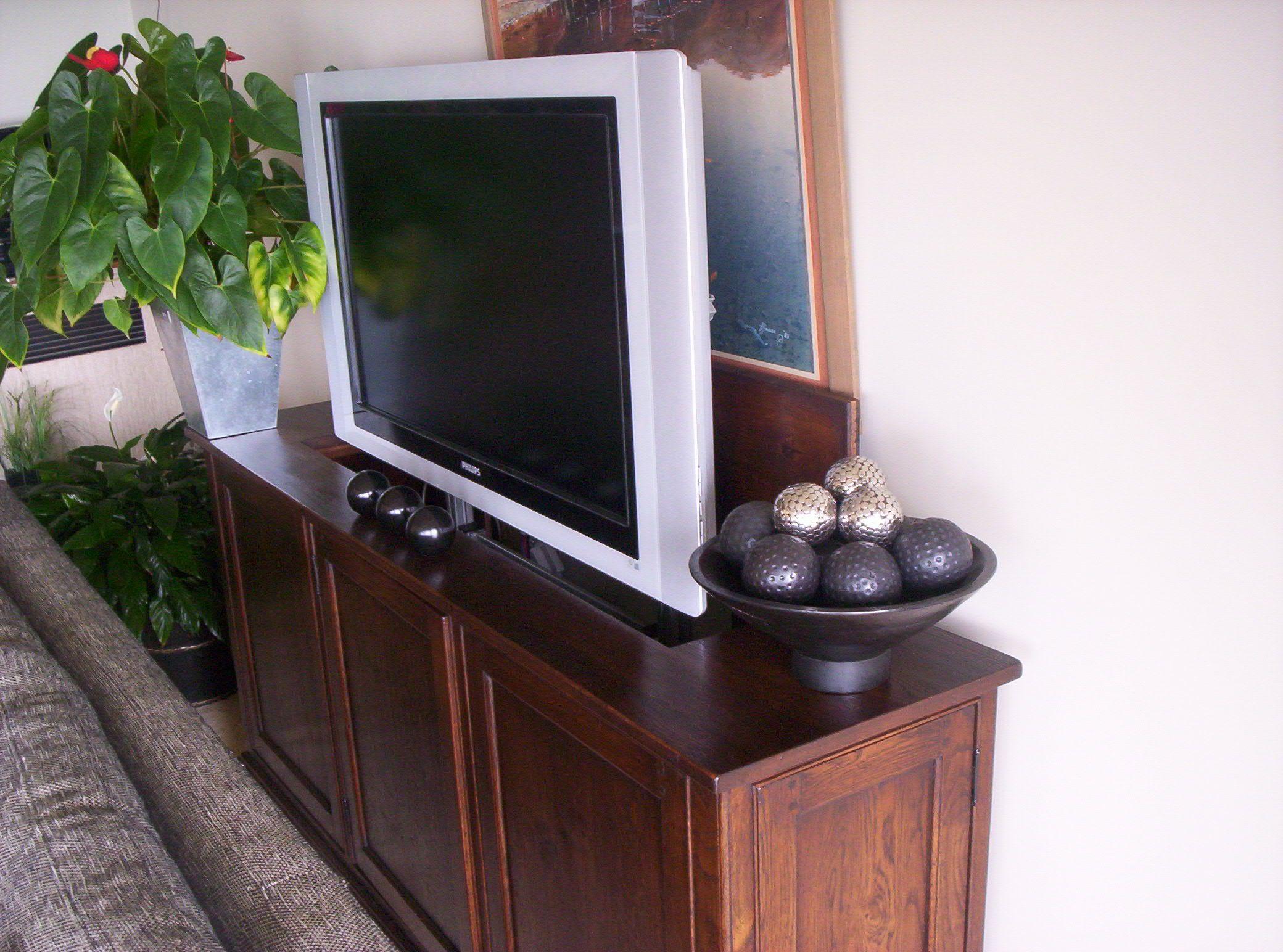 Plasma TV Unit - French Oak -- Plasma TV Lifter   French ... Plasma Unit Design
