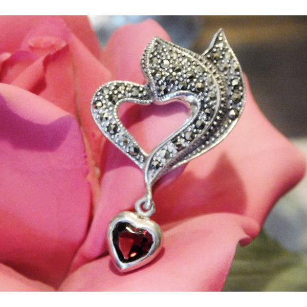 Garnet Marcasite Heart Pendant Sterling Silver Pendant Drop Dangle... ($39) ❤ liked on Polyvore featuring jewelry, heart jewelry, garnet jewelry, pendant jewelry, sterling silver gemstone jewelry and marcasite jewelry