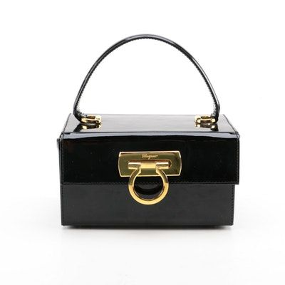 Salvatore Ferragamo Patent Leather Box Bag  df663cf71f349