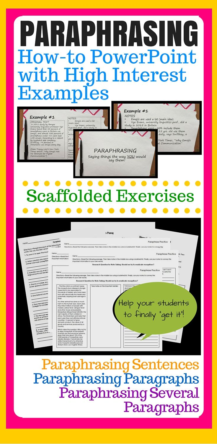 Paraphrasing Paraphrase Great Powerpoint Presentation Direct Instruction Practice And Summarizing Quoting Worksheet