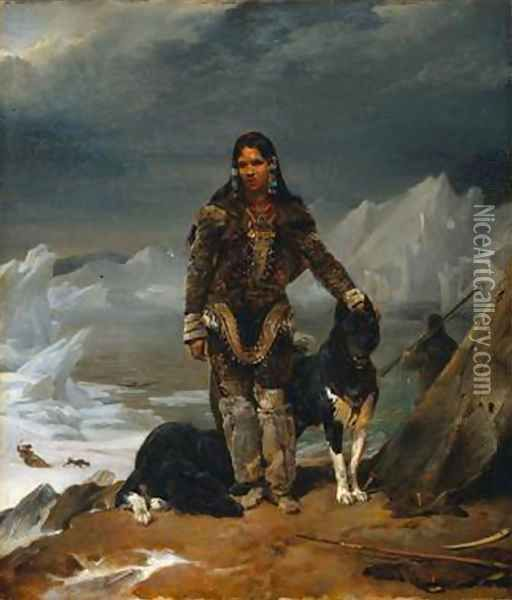 A Woman From The Land Of Eskimos Oil Painting Leon Cogniet Oil