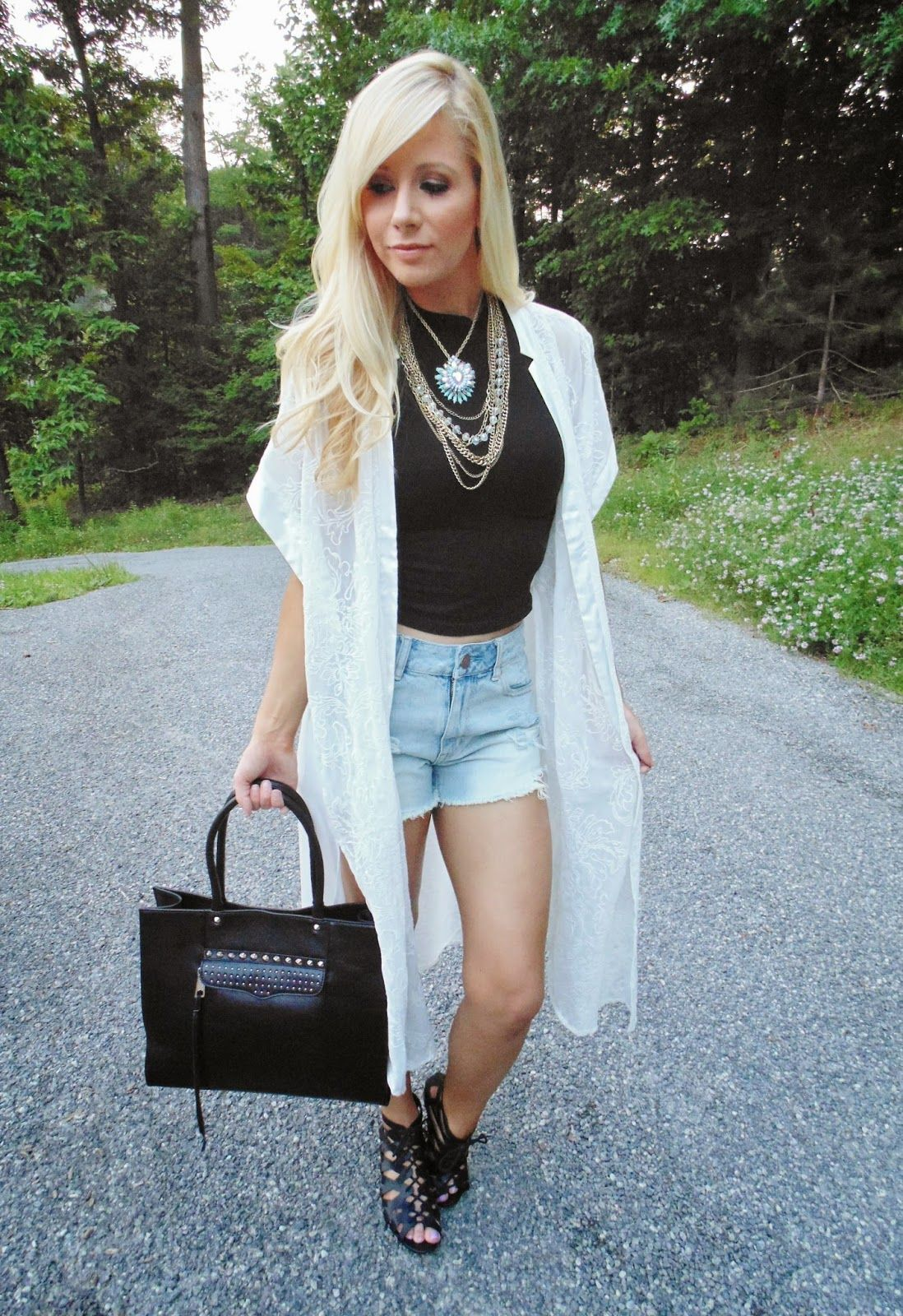 Women's White Lace Open Cardigan, Black Cropped Top, Light Blue ...