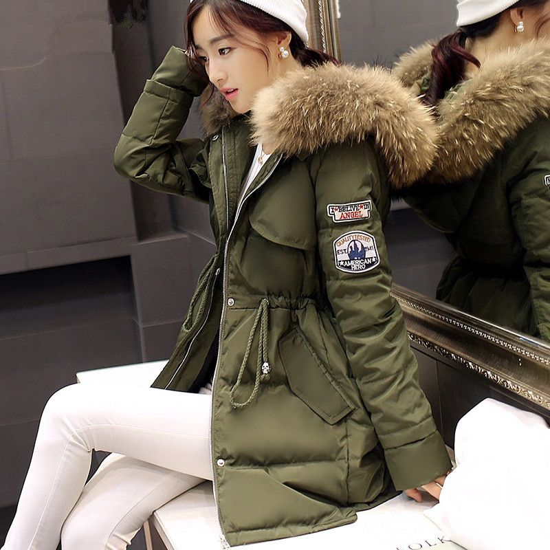 Women Winter Army Green Jacket Coats Thick Parkas Plus Size Fur ...