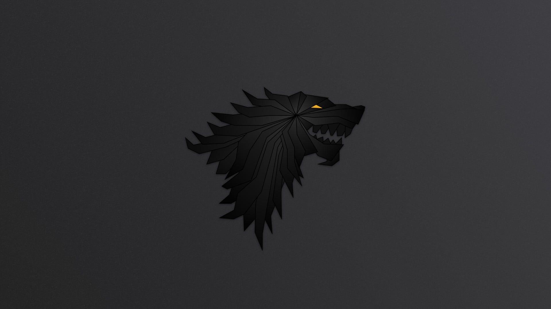 Black Dragon Illustration Game Of Thrones Wolf Logo 1080p Wallpaper Hdwallpaper Desktop In 2021 Stark Sigil Wallpaper 4k Dragon Illustration