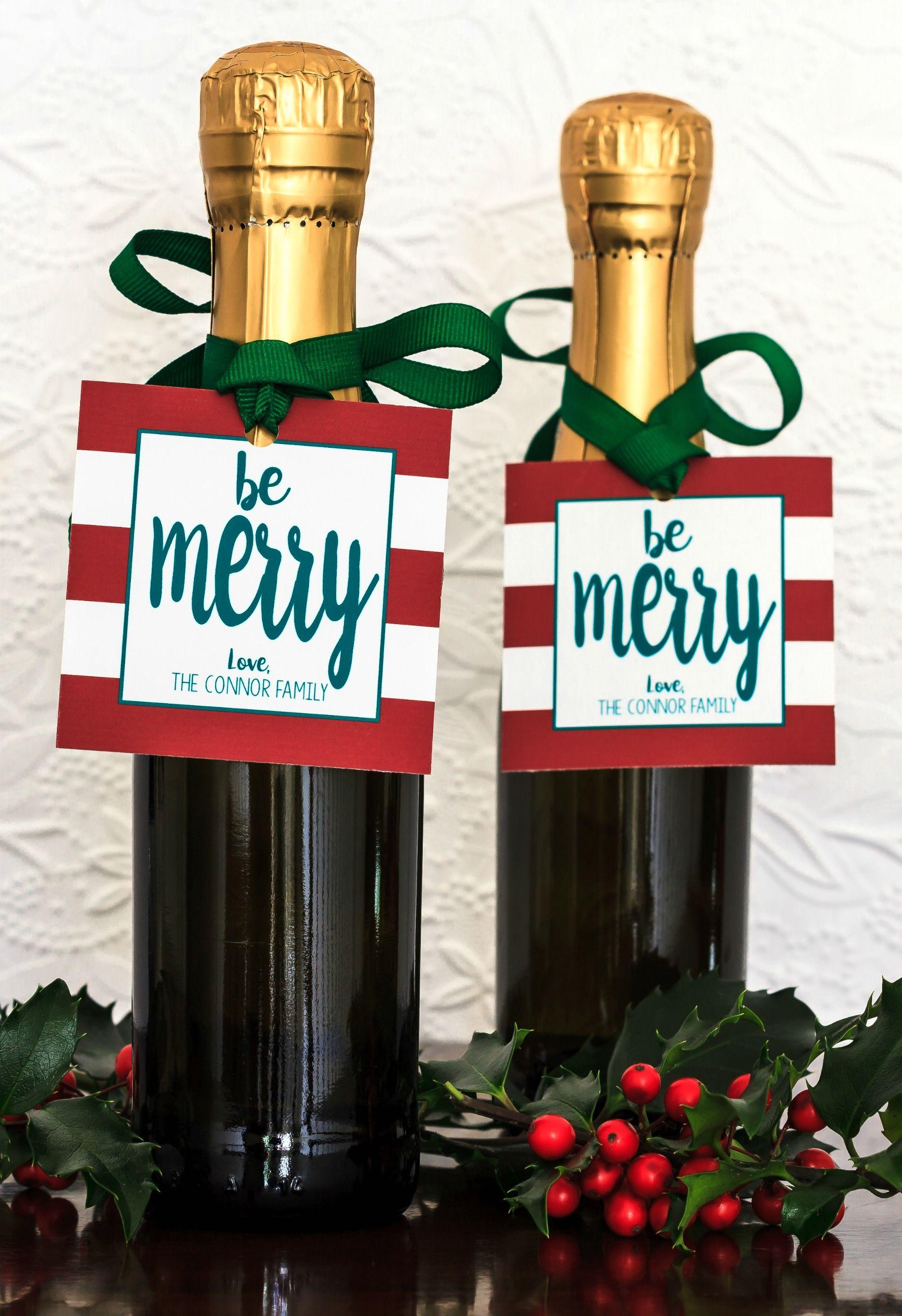 Christmas Gift Tags & Ribbon - Holiday Party Favor - Christmas Wine ...
