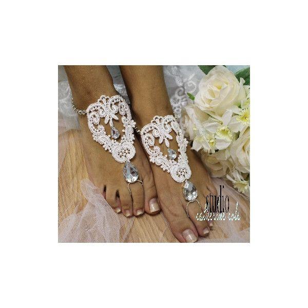 barefoot sandals, beach wedding, bridal shoes, love, lace, romantic, s... via Polyvore