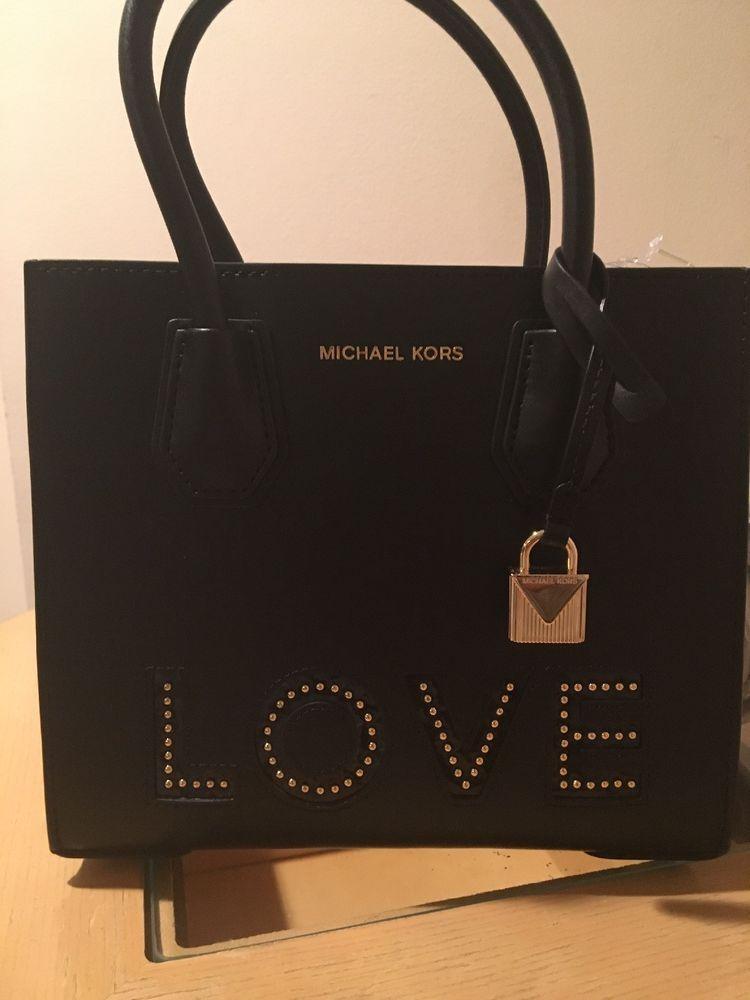 e18e78d53475 MICHAEL KORS STUDIO MERCER LOVE MEDIUM Messenger Bag In BLACK GOLD  278  NWTs  fashion  clothing  shoes  accessories  womensbagshandbags ...