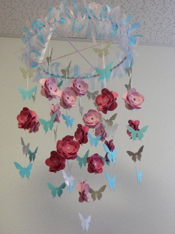 Flower And Butterfly Paper Mobile Inspired By Cherry Blossom Art