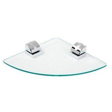 Geesa Clear Glass Corner Bathroom Shelf With Chrome Mounting 8021-02