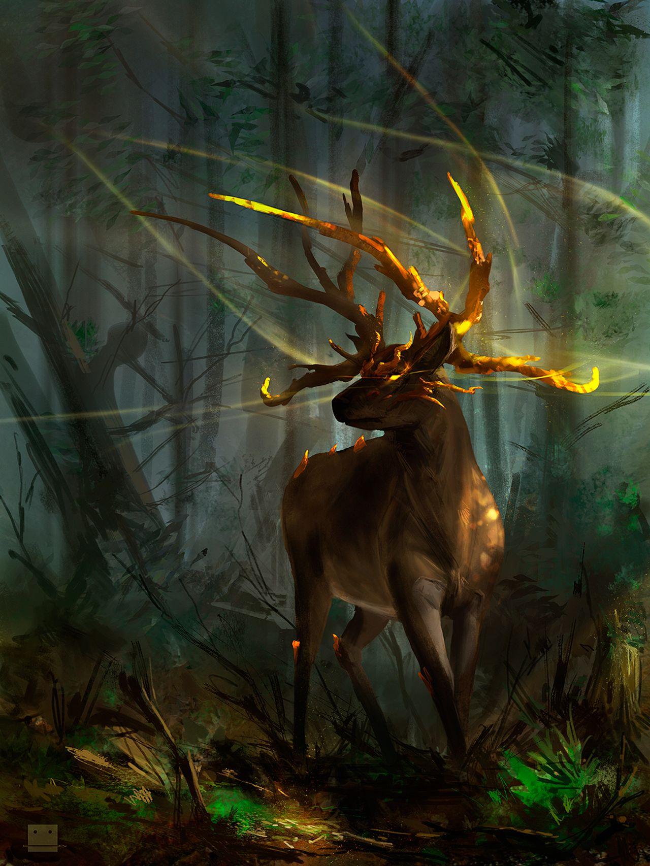 Elara Deer Guardian Sickbrush Beautiful Arts Fantasy Creatures Art