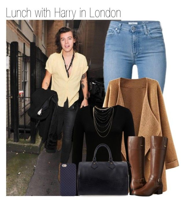 """""""374 • Lunch with Harry in London"""" by queenxxbee ❤ liked on Polyvore featuring French Connection, Bandolino, Wet Seal, Louis Vuitton, Tory Burch, OneDirection and harrystyles"""