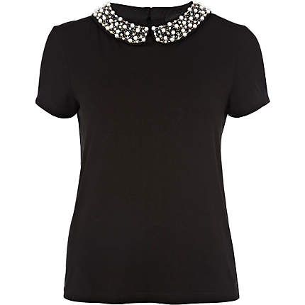Want! black pearl embroidered collar t-shirt - River Island