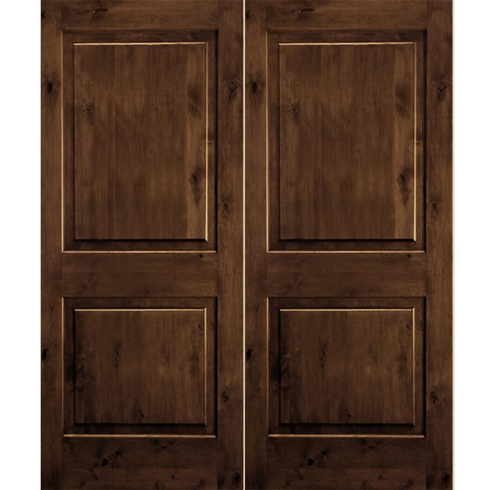 Krosswood Doors 72 In X 80 In Rustic Knotty Alder 2 Panel Square Top Provincial Stain Left Hand Wood Double Prehung Front Door Phed Ka 300 60 68 134 La Pr T Prehung Exterior Door Knotty Alder Front Door