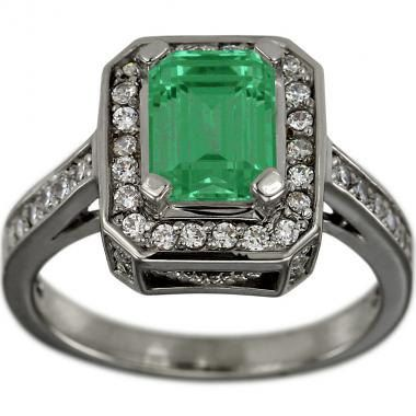 Emerald Cut Emerald In Diamond Emerald Engagement Ring
