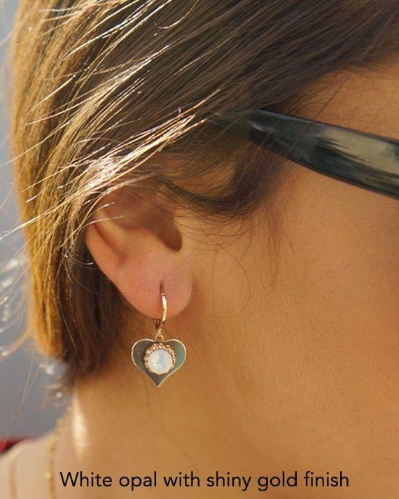 Photo of Heart Hoop Earrings, Heart Earrings, Huggie Hoop Earrings for Women, Huggie Charm Earrings, Bridesmaids Jewelry, Opal Earrings