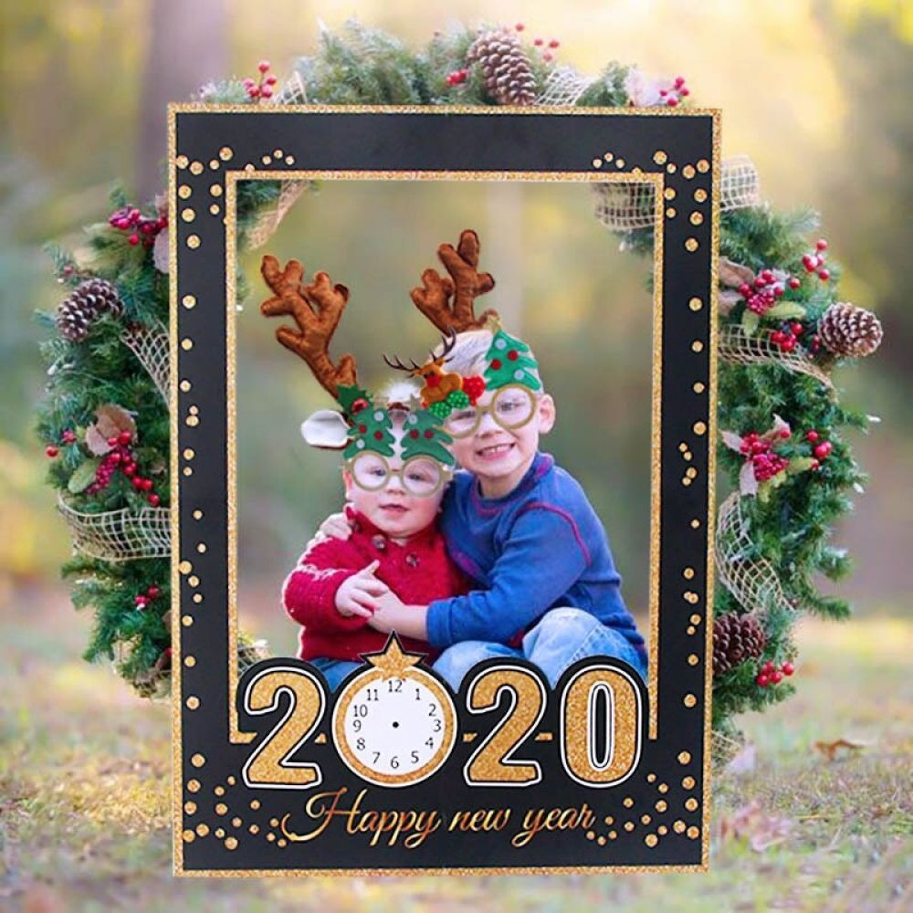 2020 Happy New Year Photobooth Props Gold Black Photo
