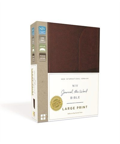 Niv Journal The Word Bible Large Print Premium Leather Brown Reflect On Your Favorite Verses Colored PaperLarge