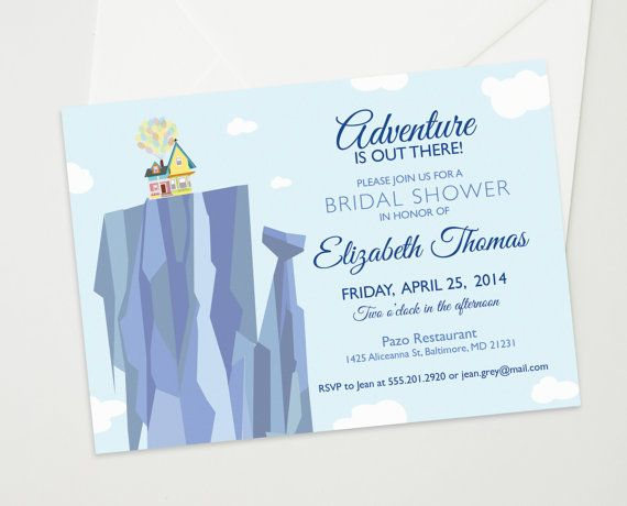 Up Themed Wedding Invitations: Bridal Or Baby Shower Invitation Inspired By The Disney