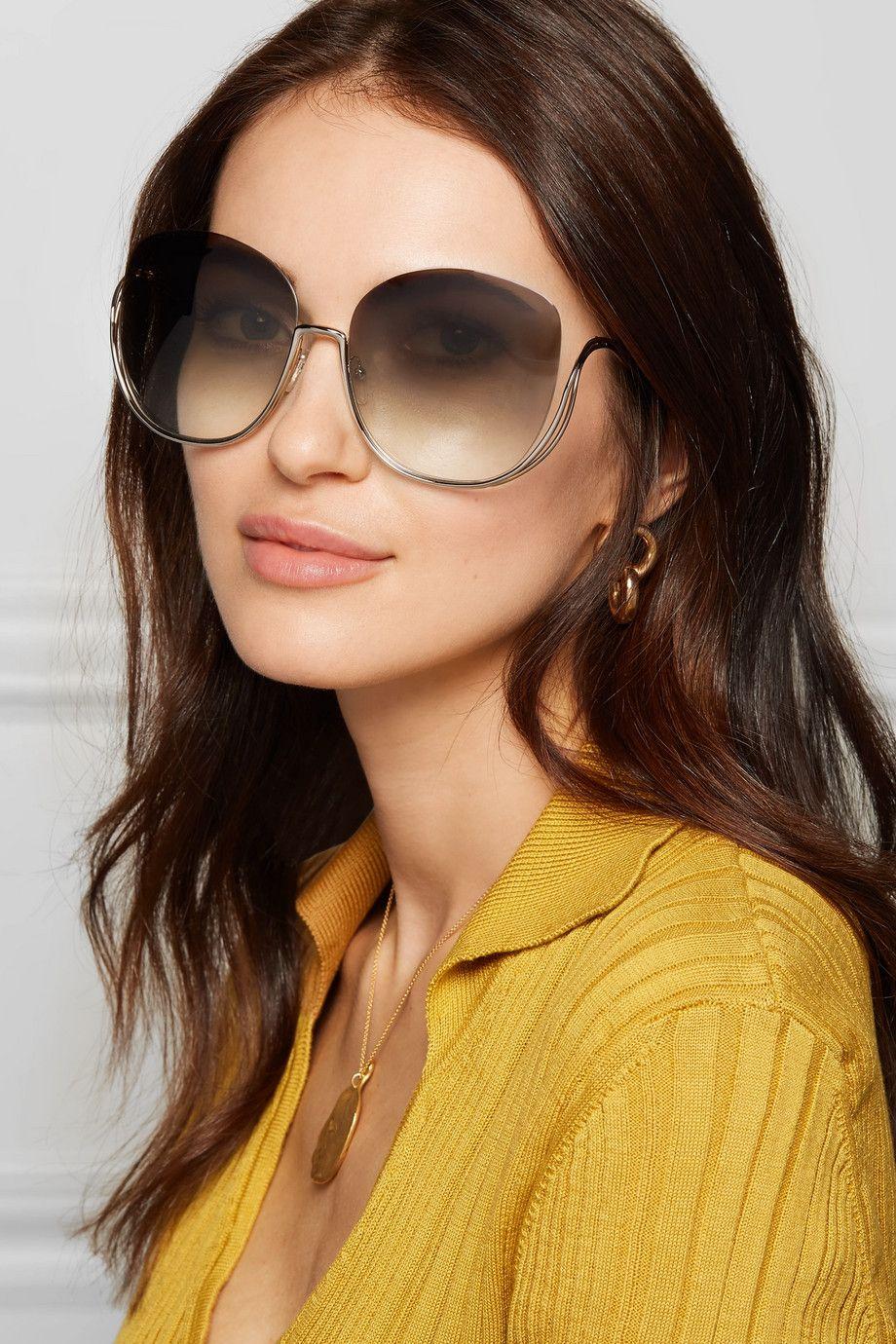 b84ee10d7be9b7 Chloé Milla square-frame gold-tone sunglasses  400   Accessories ...