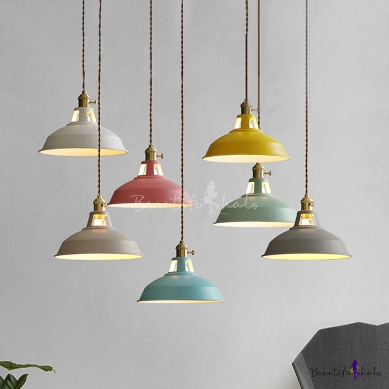 Hanging Pendant Light With Colorful Barn Shade 1