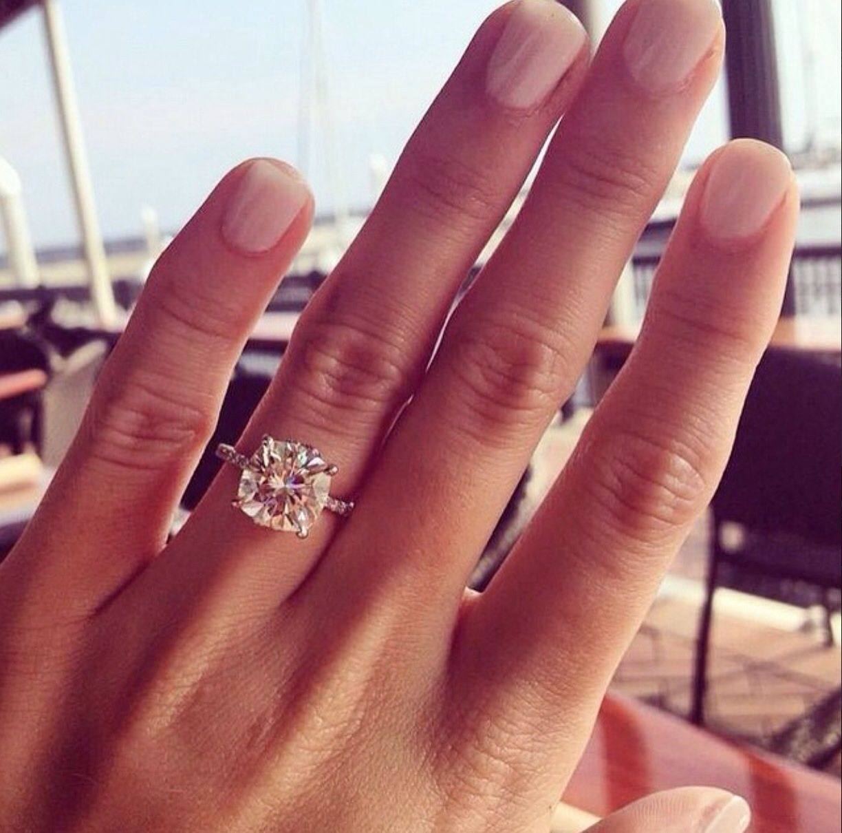 Dream Ring Cushion Cut Solitaire With Thin Pave Band No Halo