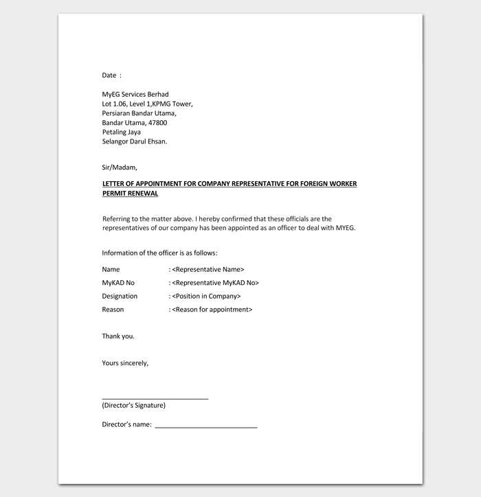 Appointment Letter for Company Representative 1 | Letter Templates