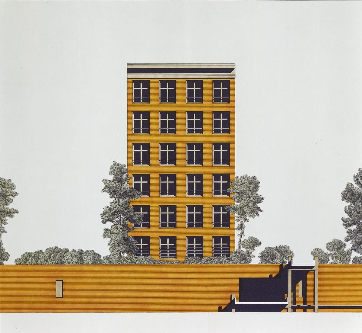 Giorgio Grassi · Artificial Island in Verbindingskanaal in Groningen · CollagesPerspectivePresentationSketches
