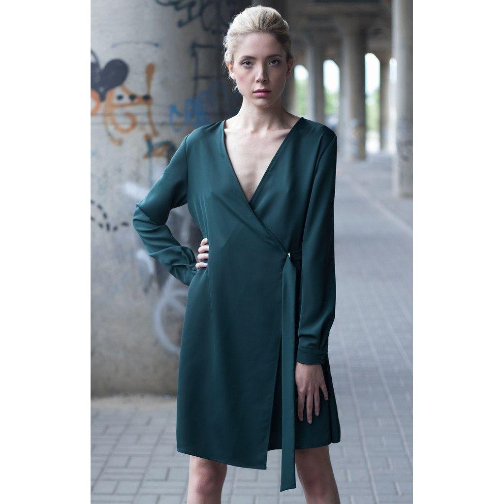 Green long sleeve cocktail dress  Dark green short dress  ettuet  Pinterest  Products