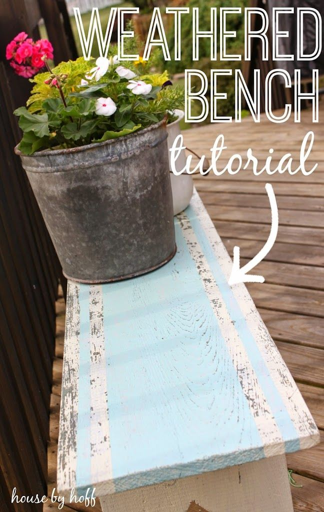 Weathered Bench Tutorial via housebyhoff.com