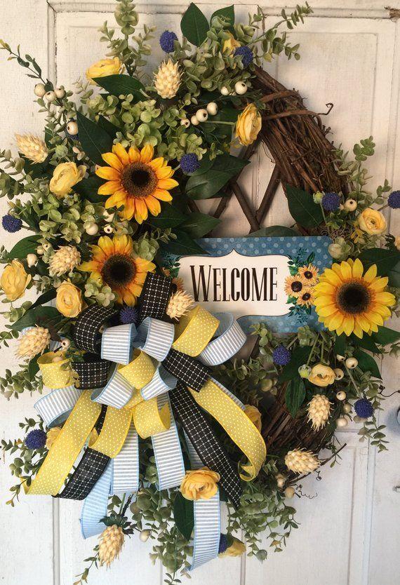 Photo of Sunflower wreath, wine wreath, spring wreath, summer wreath, door wreath, welcome wreath, oval wreath, yellow wreath