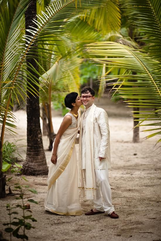 A sweet pic of the bride and groom in traditional Indian attire